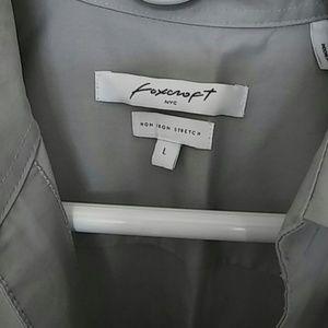 Foxcroft Tops - Foxcroft Women's Button Down Blouse, L, Gray, NWOT